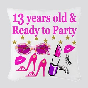 13TH BIRTHDAY Woven Throw Pillow