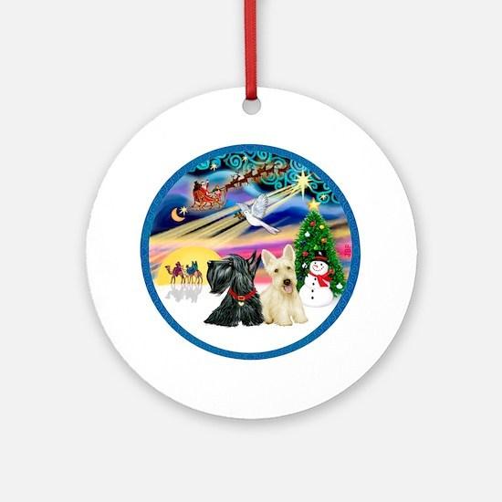 Xmas Magic /Two Scotties Ornament (Round)