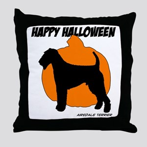 Airedale Terrier Halloween Throw Pillow