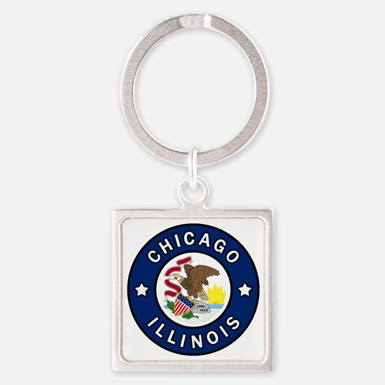 Funny Prairie state Square Keychain