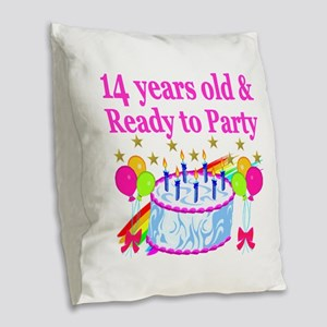 14 YEARS OLD Burlap Throw Pillow