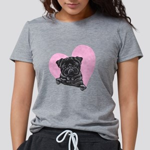 Black Pug Pink Hear T-Shirt