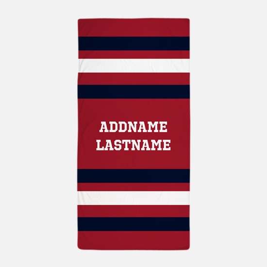 Navy Blue and Red Rugby Stripes with C Beach Towel