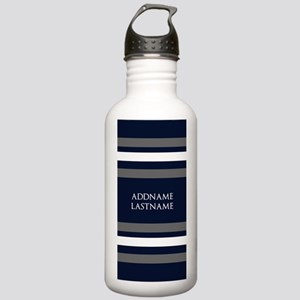 Chic Navy and Silver S Stainless Water Bottle 1.0L