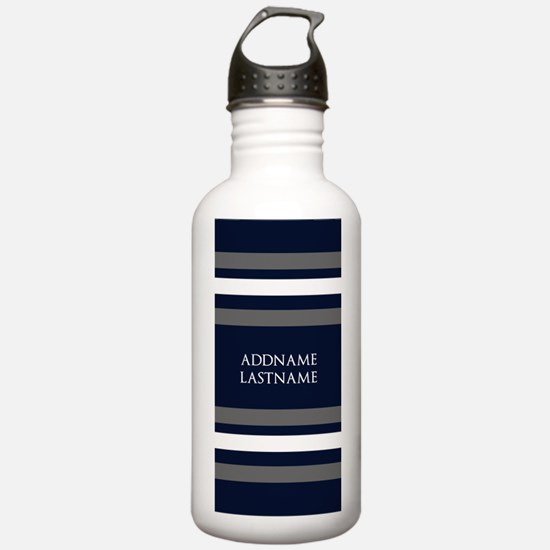 Chic Navy and Silver S Water Bottle