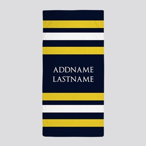 Nautical Blue and Yellow Stripes Beach Towel