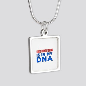 Cross Country Skiing Is In Silver Square Necklace