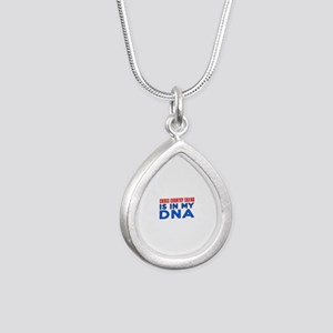 Cross Country Skiing Is Silver Teardrop Necklace