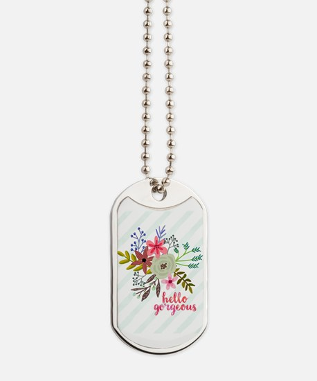 Floral Hello Gorgeous Dog Tags