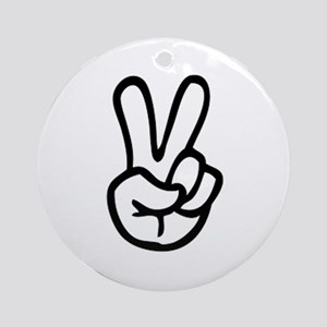 VEE FOR VICTORY! - TWO FINGERED SAL Round Ornament