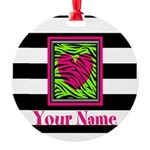 Custom Pink Green Zebra Heart Ornament