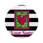 Custom Pink Green Zebra Heart Round Ornament
