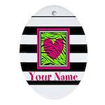 Custom Pink Green Zebra Heart Oval Ornament