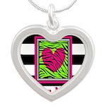 Custom Pink Green Zebra Heart Necklaces