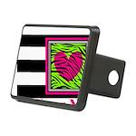 Custom Pink Green Zebra Heart Hitch Cover