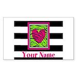 Custom Pink Green Zebra Heart Sticker