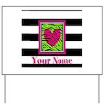 Custom Pink Green Zebra Heart Yard Sign