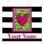 Custom Pink Green Zebra Heart Square Car Magnet 3