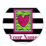 Custom Pink Green Zebra Heart Round Car Magnet