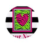 Custom Pink Green Zebra Heart 3.5