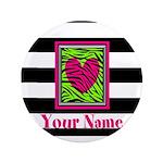 Custom Pink Green Zebra Heart Button