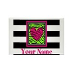 Custom Pink Green Zebra Heart Magnets