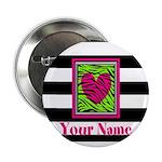 Custom Pink Green Zebra Heart 2.25