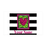 Custom Pink Green Zebra Heart Wall Decal