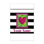 Custom Pink Green Zebra Heart Posters
