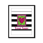 Custom Pink Green Zebra Heart Framed Panel Print