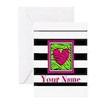 Custom Pink Green Zebra Heart Greeting Cards