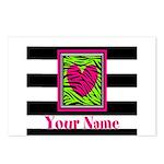 Custom Pink Green Zebra Heart Postcards (Package o