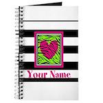 Custom Pink Green Zebra Heart Journal