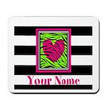 Custom Pink Green Zebra Heart Mousepad