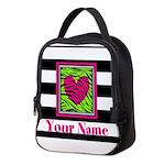 Custom Pink Green Zebra Heart Neoprene Lunch Bag