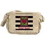 Custom Pink Green Zebra Heart Messenger Bag