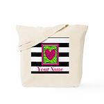 Custom Pink Green Zebra Heart Tote Bag