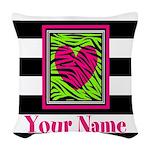 Custom Pink Green Zebra Heart Woven Throw Pillow