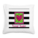 Custom Pink Green Zebra Heart Square Canvas Pillow