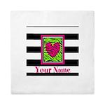 Custom Pink Green Zebra Heart Queen Duvet