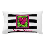 Custom Pink Green Zebra Heart Pillow Case