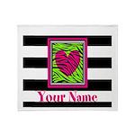 Custom Pink Green Zebra Heart Throw Blanket