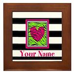 Custom Pink Green Zebra Heart Framed Tile