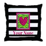 Custom Pink Green Zebra Heart Throw Pillow