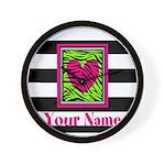 Custom Pink Green Zebra Heart Wall Clock