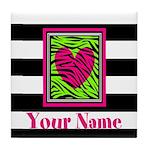 Custom Pink Green Zebra Heart Tile Coaster