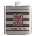 Custom Pink Green Zebra Heart Flask