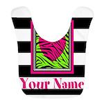 Custom Pink Green Zebra Heart Bib