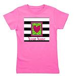 Custom Pink Green Zebra Heart Girl's Tee