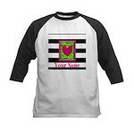 Custom Pink Green Zebra Heart Baseball Jersey